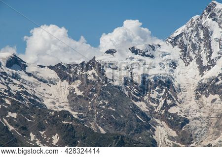 View Of Monte Rosa, One Of The Most Famous Peaks Of All The Alps, During A Beautiful Summer Day, Nea