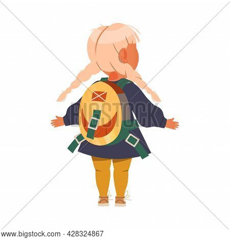 Cute Girl Standing With Schoolbag Back View Vector Illustration