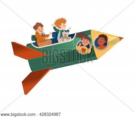 Happy Children Flying On Rocket Peeped Out From Viewing Port And Boarding Big Spaceship Vector Illus