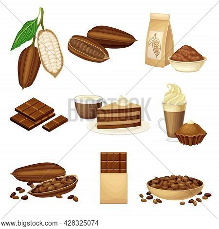 Chocolate With Roasted And Ground Cacao Seeds, Sweets And Pastry Vector Set