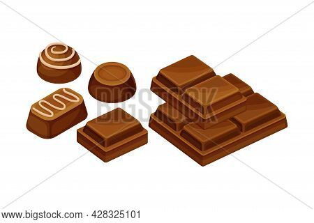 Chocolate Bar Or Candy Bar And Praline As Solid Confection Vector Illustration