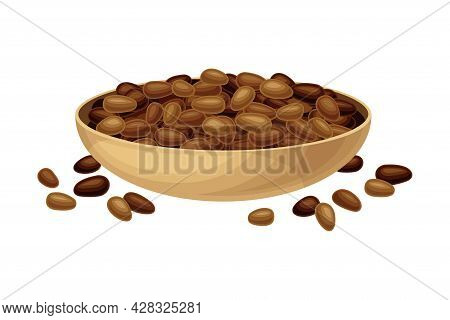 Dried Seeds Of Theobroma Cacao As Aromatic Chocolate Ingredient In Bowl Vector Illustration