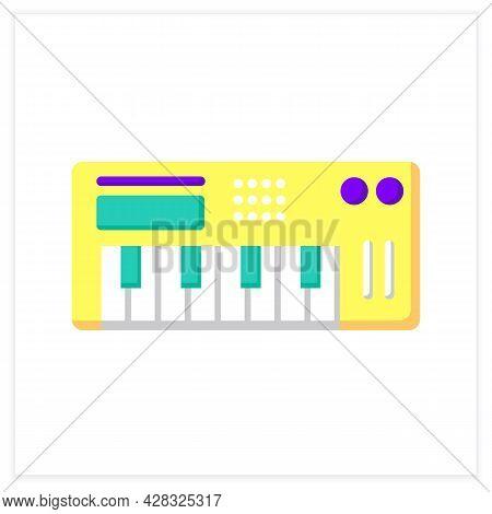 Midi Keyboard Flat Icon. Digital Audio Workstation. Piano-style Electronic Musical Keyboard. Classic