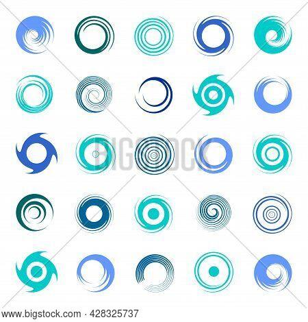Spiral Design Elements With Circular Rotation Swirl Movement. Vector Art.