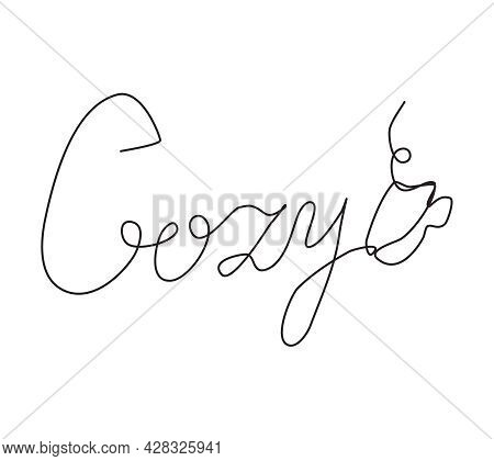 The Word Cozy And A Cup Of Hot Drink Are Written In One Line. Cozy Vector Logo
