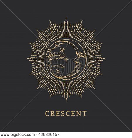 Crescent In Halo. Moon Drawn In Engraving Style.
