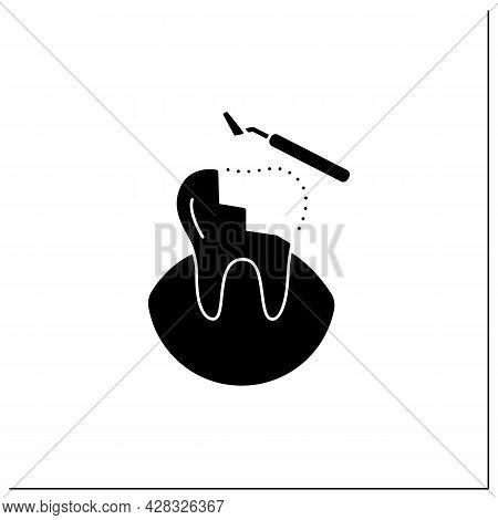 Restorative Dentistry Glyph Icon. Tooth Care Includes Dental Implants, Dental Bridges, Dental Bondin