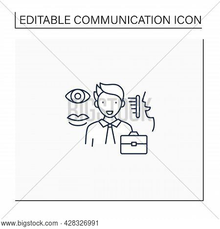 Non Verbal Communication Line Icon. Communicate Using Gestures, Facial Expressions, Eye Contact, Pos