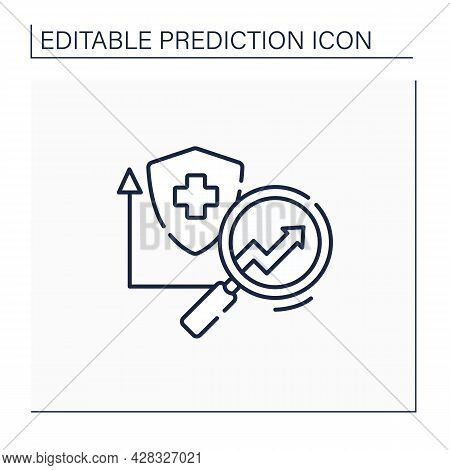 Health Insurance Line Icon. Healthcare Predictive Analytics. Insurance Research. Automatic Optimizat