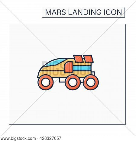 Perseverance Rover Color Icon. Special Mars Transport Exploration. Rover. Planet Research. Mars Land