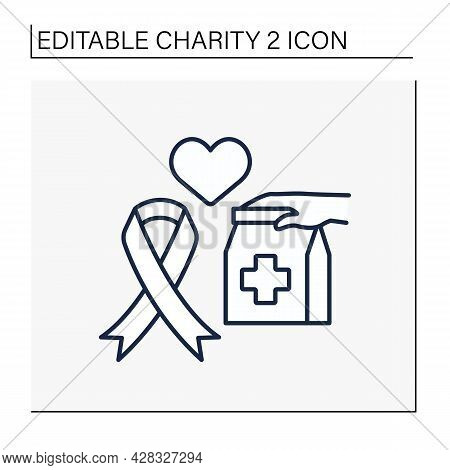 Aids Line Icon. Money, Equipment, Medicines Or Services For People With Aids. Help And Support. Char