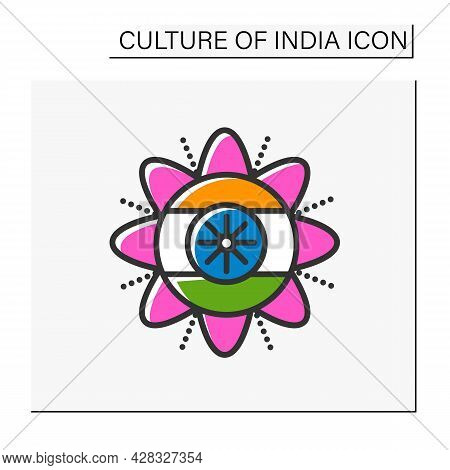 Independence Day Color Icon. Celebration On August 15th. National, Patriotic Indian Holiday. Indian