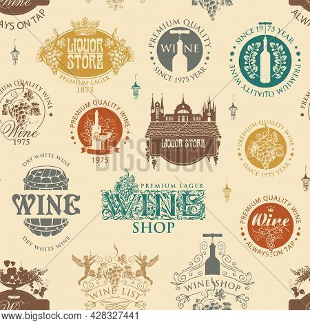 Seamless Pattern On A Theme Of Wine And Liquor Stores. Colored Vector Background With Wine Labels, L