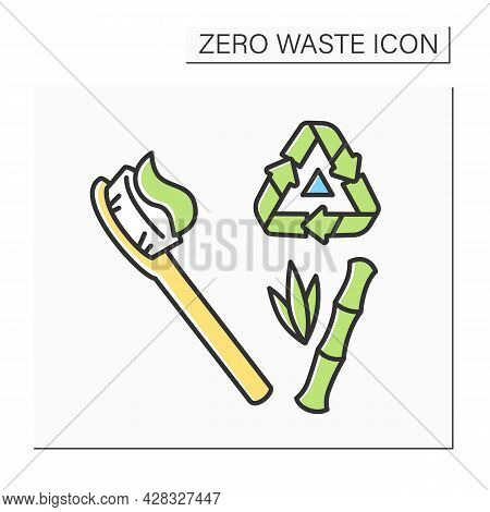 Bamboo Toothbrush Color Icon. Natural Bristle Bamboo Wood Dental Brush With Recycling. Concept Of Ec