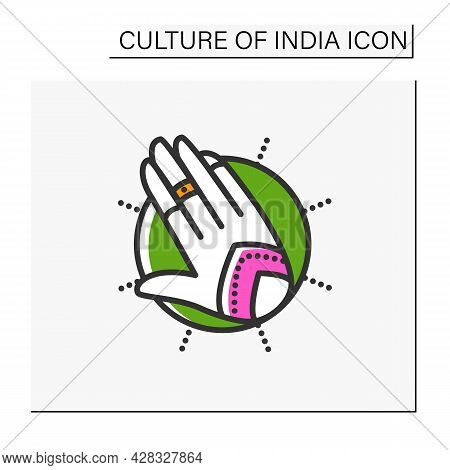Mehndi Color Icon. Ethnic Oriental Henna Patterns On Hand. Indian Bridal Ornaments. Henna Tattoo. El