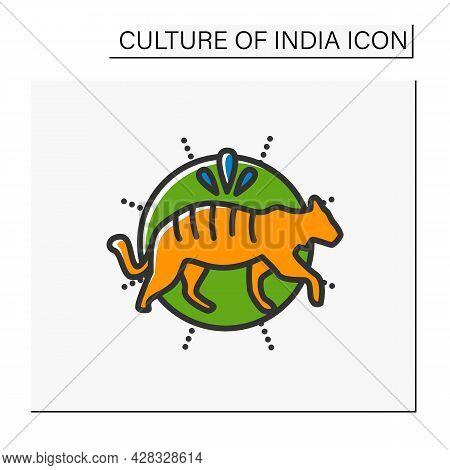 Bengal Tiger Color Icon. Sacral, Totem Animal. Indian National Symbol. Wildlife Protection. Tiger Da