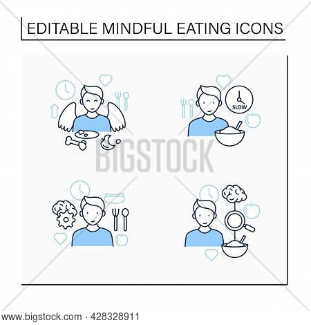 Mindful Eating Line Icons Set.conscious, Intuitive Nutrition. Eating Slowly, Satisfied Feeling.mealt