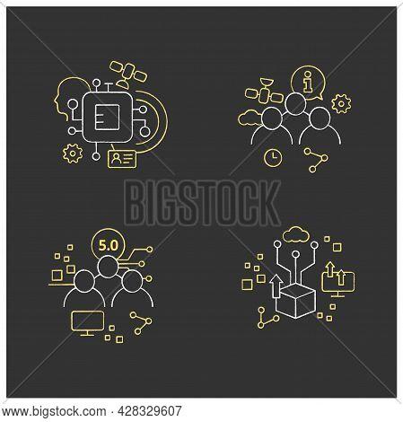 Digital Transformation Chalk Icons Set. Chipization, Digital Potential, Society 5.0, Information Soc