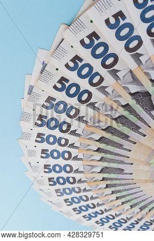 A Fan From Ukrainian Money. 500 Hryvnia Banknotes.