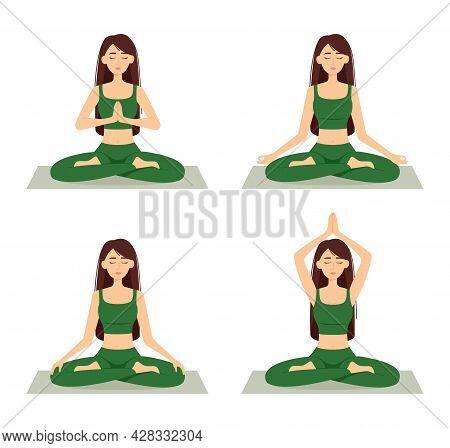 Set Of Meditating Women. Girls In Lotus Position Practicing Yoga, Vector Illustration