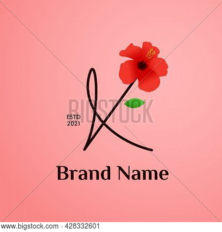 Beauty And Charming Simple Illustration Logo Design Initial K Combine With Shoe Flower.