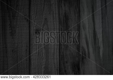 Black Wood Texture Background. Abstract Dark Wood Texture On Black Wall. Aged Wood Plank Texture Pat