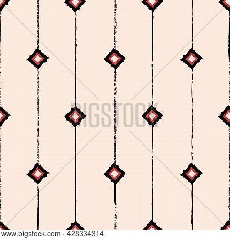 Vector Drawn Red Black Rhombus Ecru Repeat Pattern