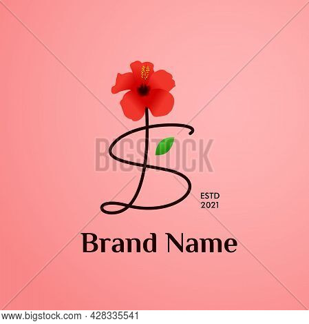 Beauty And Charming Simple Illustration Logo Design Initial S Combine With Shoe Flower.