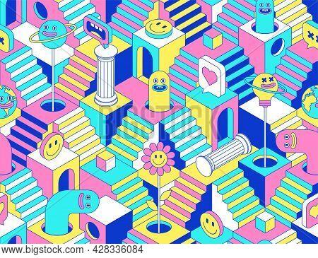 Surreal Seamless Pattern With Stairs, Steps, Labyririnth, Secrets, Sculpture, Emoji, Rainbow, Arch,