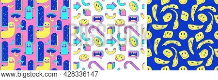 Cartoon Surreal Seamless Patterns With Emoji, Arch, Geometric, Abstract Shapes In Trendy Psychedelic