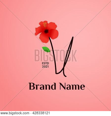 Beauty And Charming Simple Illustration Logo Design Initial V Combine With Shoe Flower.