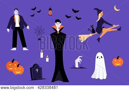 Halloween Characters And Elements. Dracula, Witch,bat, Ghost, Cat, Pumpkin, Spider.happy Halloween.