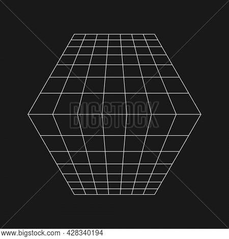 Retrofuturistic Perspective Grid Converging At The Horizon. Cyber Retro Design Element. Grid In Cybe