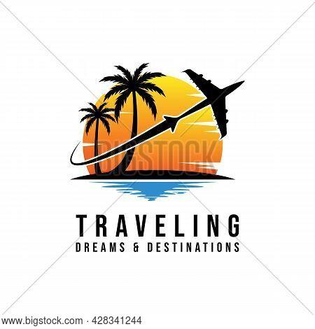Travel Agency Vector Logo Template. Holiday Logo Template. Beach Logo Concept