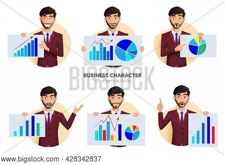 Businessman Presentation Vector Set. Business Man Characters Holding And Showing Whiteboard Chart El