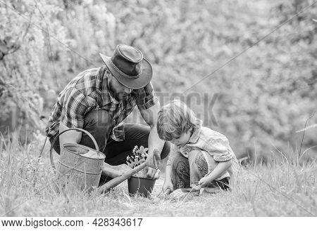 Little Helper In Garden. Make Planet Greener. Growing Plants. Take Care Of Plants. Day Of Earth. Boy
