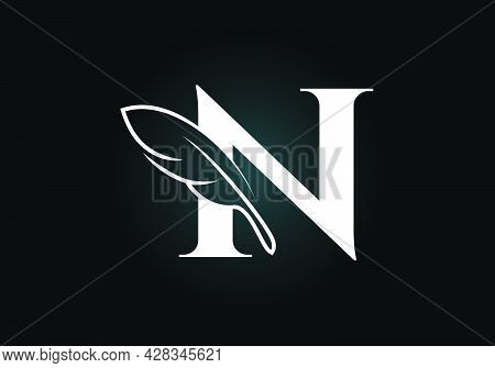 Initial N Monogram Alphabet With A Feather. Font Emblem. Law Firm Icon Sign Symbol. Modern Vector Lo