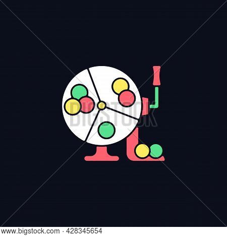 Ball Draw Machine Rgb Color Icon For Dark Theme. Drawing Winning Numbers For Lottery Game. Bingo Blo