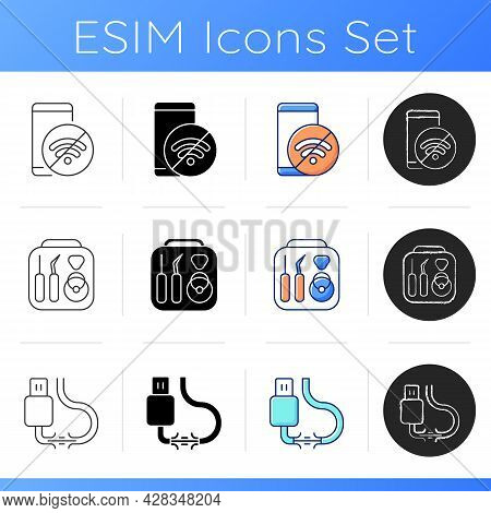 Common Phone Breakdowns Icons Set. No Internet Connection. Toolkit For Phone Repair. Torn Cable. Sma