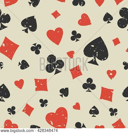 Seamless Grunge Pattern With Card Suits - Hearts, Clubs, Spades And Diamonds. Scratched Casino Gambl