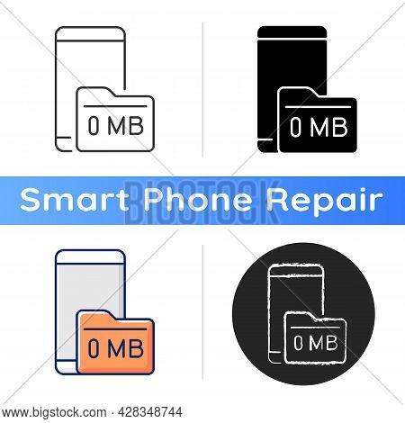 Full Storage Space Icon. Smartphone And Memory Card. Zero Megabytes Left Notification. Phone Memory