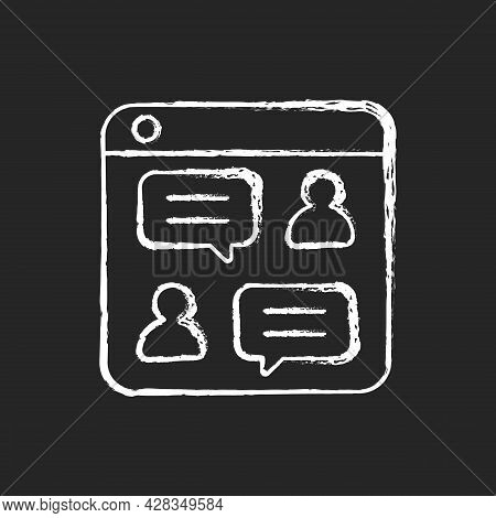 Social Discussion Platforms Chalk White Icon On Dark Background. Posting Messages And Questions On W