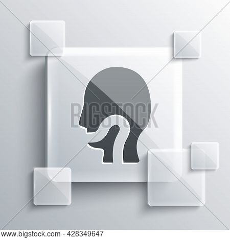 Grey Sore Throat Icon Isolated On Grey Background. Pain In Throat. Flu, Grippe, Influenza, Angina. H