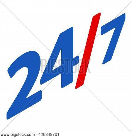 Twenty Four Seven Icon Isometric Vector. Twenty Four Hour Seven Day. Service, Support, Assistance Ev