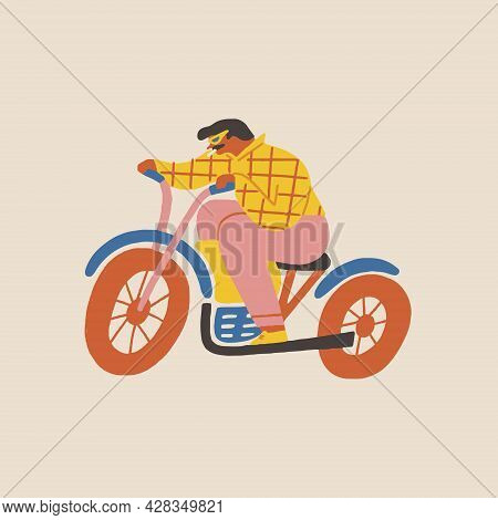 Poster Or Card With A Brutal Men Biker Riding A Motorcycle Illustration.