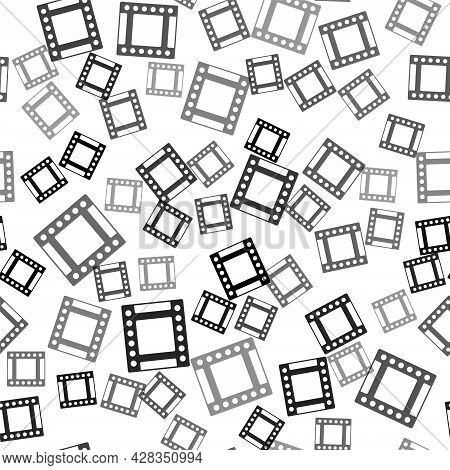 Black Camera Vintage Film Roll Cartridge Icon Isolated Seamless Pattern On White Background. 35mm Fi