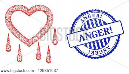 Vector Network Crying Heart Framework, And Anger Exclamation Blue Rosette Unclean Stamp Seal. Wire F