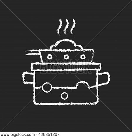 Steam For Cooking Chalk White Icon On Dark Background. Boil Water In Pot To Cook Meal On Pan. Dinner