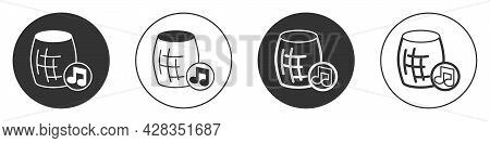 Black Voice Assistant Icon Isolated On White Background. Voice Control User Interface Smart Speaker.