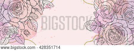 Banner Background Of Creative Minimalist Hand Draw Illustration Floral Outline Roses Pastel Biege, S